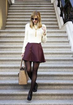 Faux leather skirt with a cropped sweater…perfect look for any occasion.