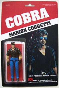 Custom made 3 3 4 Marion Cobretti Cobra vintage style action figure MOC Stallone Classic Toys, Classic Movies, Gi Joe, King Kong, Retro Toys, Vintage Toys, Silvester Stallone, Toy R, Childhood Toys