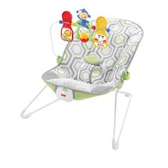 Get busy relaxing (and playing) with Babys Bouncer!  The seat gently bounces in response to babys natural motions. A press of a button adds calming vibrations, too. When its time to play, three animal friends on the toy bar encourage baby to reach and grasp (exercising developing motor skills), bat (encouraging development of eye-hand coordination), and play (which is just plain fun)!