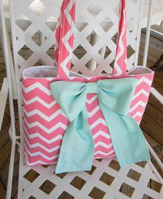Coral Pink Chevron Diaper  Bag Tote Bag Every Day Bag by CHICBAZAR, $55.00