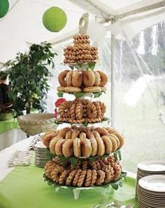 Donut tree!! But on a wood platform for outdoor wedding.