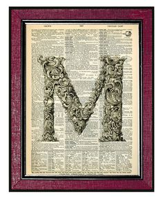 M - LETTER Art Wall Hangings Dictionary Art Print Book Art Old Book Pages Wall Decor Wall Art Initial Print Monogram Print Typography