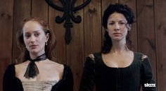 Geillis Duncan (Lotte Verbeek) and Claire Fraser (Caitriona Balfe) on trial for witchcraft in Crainsmuir, Scotland | Outlander S1bE11 'The Devil's Mark' on Starz | Costume Designer TERRY DRESBACH www.terrydresbach.com