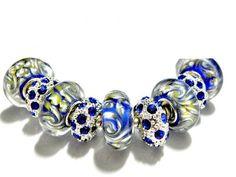 european bead Bracelet Blue charms PB825    | egrobeck - Jewelry on ArtFire
