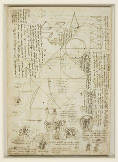 Verso: Studies of emblems, geometrical diagrams, and notes , c.1508-10 , Pen and ink, geometrical diagrams and notes; allegorical representations of truth and falsehood, a mask being melted in the sun, framed in circles.