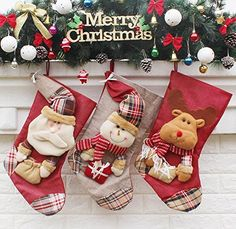HUAJI 3 Pcs Christmas Tree Decor Hanging Socks Stocking Candy Bag ElkSantaSnowman *** Learn more by visiting the image link. (This is an affiliate link)