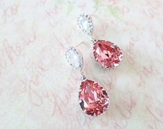 Sandra Crystal Teardrop Earrings Bridesmaid by GlitzAndLove