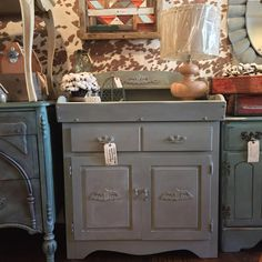 #anniesloan #chalkpaint #duckegg Antique Wash Stand . Vintage Cabinet . Hand Painted . Chalk Paint . Upcycled Changing Table . Petite Storage . Small Spaces Furniture