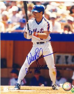 Autographed Wally Backman New York Mets 8x10 Photo Inscribed '86 WS Champs