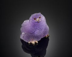 Very Fine Amethyst Carving of a Baby Snow Owl sold for $17,500