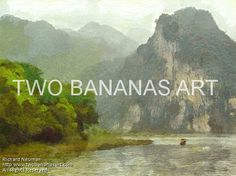 #239 CRUISING THROUGH SPECTACULAR MOUNTAIN SCENERY Limited edition of ten 18x24 prints. $185.00 Painting by Two Bananas Art artist Richard Neuman. Inspired by a photo he took cruising the Li River in China. Each giclee print is digitally signed, dated, numbered, with a certificate of authenticity. Your gallery wrapped, stretched canvas print is ready to hang. SHIPPED FREE! #art #architecture #colorful #semi #abstract #landscape #travel #print