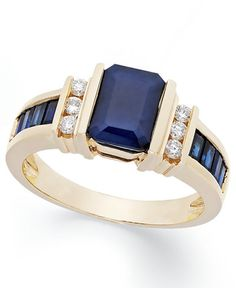 Show off your fabulous sense of style with this exquisite, 14k gold ring from Effy. Featuring baguette- and- emerald-cut sapphire offset by round-cut diamonds (1/6 ct. t.w.). | Photo may have been enl