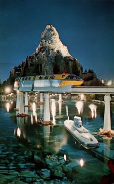 Vintage Monorail, Matterhorn and Submarine Voyage, Disneyland. I loved both of these. The submarine was so real! Old Disney, Disney Fun, Disney Magic, Disney Rides, Disneyland Rides, Disneyland Secrets, Disney Stuff, Disneyland History, Vintage Disneyland