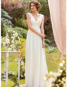 Beautiful A Line V Neck Wedding Dresses Without Trains Long Casual