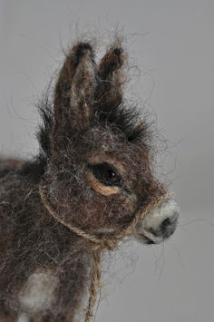 Needle felted Animal . Felted Donkey. Nativity. by darialvovsky