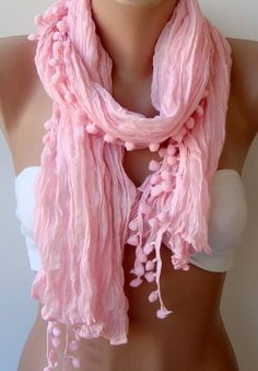 Elegant scarf Cotton scarf pink scarf Batik scarf pompom by womann, $13.90