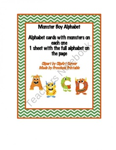 Monster Boy Alphabet Cards product from Preschool-Printable on TeachersNotebook.com
