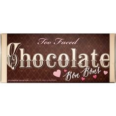 Too Faced Chocolate Bon Bons Palette Eye ($49) ❤ liked on Polyvore featuring beauty products, makeup, eye makeup, beauty, eyeshadow, food, too faced cosmetics and palette makeup