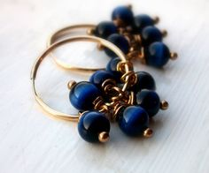 Bold and Blue  Gold Hoop Dangle Earrings by JustBeCreative on Etsy, $21.00