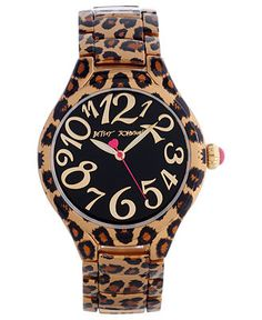 Betsey Johnson Watch, Womens Leopard Printed Bracelet 40mm BJ00204-03 - All Watches - Jewelry & Watches - Macys