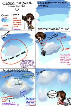 Clouds Tutorial Paint Tool Sai by The-Yello-Mello on DeviantArt Cloud Drawing, Water Drawing, Drawing Tips, Drawing Ideas, Cloud Tutorial, Drawing Programs, Paint Tool Sai, Coloring Tutorial, Drawing Practice
