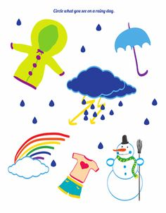 Rain, rain, go away! What kinds of items would you see on a rainy day? Circle what belongs on a rainy day. Talk with your preschooler about why some items belong on a rainy day and why others do not. Preschool Social Studies, Preschool Science Activities, Preschool Worksheets, Preschool Crafts, Educational Activities, Preschool Ideas, April Preschool, Preschool Weather, Seasons Worksheets