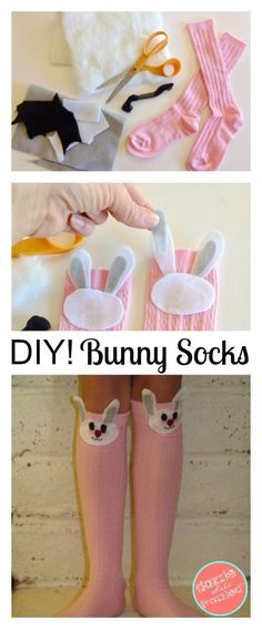 DIY Easter Bunny Girls Knee High Socks, Peter Cottontail Crafts, Easter Bunny Crafts for Kids, DIY Kids Clothing Tutorials, DIY Easy Sewing Projects for Easter  via @https://www.pinterest.com/dazzlefrazzled/