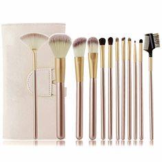 12 Pcs Professional Makeup Brushes Set Foundation Eyebrow Eyeliner Blush Soft Cosmetic Set  Pouch Bag Gold