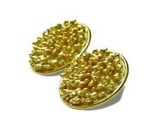Coral Post Earrings in Gold, by b.mookie
