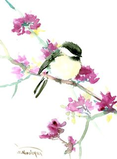 Cute Chickadee original watercolor painting, 12 X 9 in by ORIGINALONLY on Etsy
