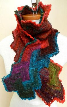 Labyrinth Knitted Scarf - via @Craftsy - Happy Colors!!
