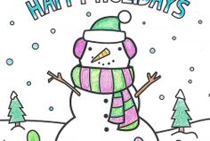 Snowman Holiday Coloring Page!