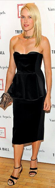 Who made Naomi Watts' velvet strapless dress, jewelry and sandals that she wore in New York?