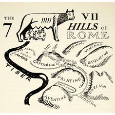 The seven hills of Rome, with the She-wolf and Romulus and Remus. Rome History, World History, Ancient History, European History, American History, Ancient Rome, Ancient Greece, Ancient Aliens, Teaching Latin
