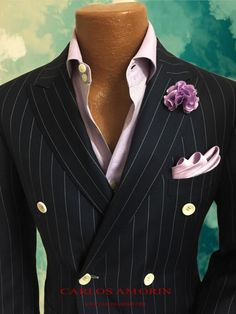 Fantastic #BlackandGold Pinstripe Men's Suit on a Pink Dress Shirt and a Pink Flower Pin and Pink Pocket Square