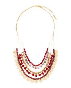 Three Row Beaded Necklace