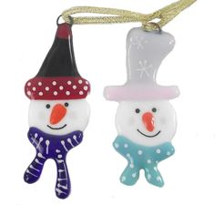 Snowman Christmas Decoration Fused Glass by venusartglass on Etsy, £5.00