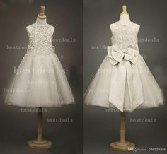 Wholesale Flower Girls' Dresses - Buy 2014 Lace Flower Girls' Dresses Lovely Jewel Neck Beaded Vintage Girl's Pageant Dresses with Bow Girls Princess Wedding Party Dresses CPS024, $56.76 | DHgate.com