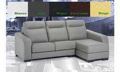 Fantástico sofá tres plazas más chaise-longue con arcón tapizado en piel natural.