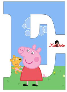 This one is for you Desi! Invitacion Peppa Pig, Cumple Peppa Pig, Abecedario Baby Shower, Peppa Pig Imagenes, Peppa E George, Letters For Kids, Pig Party, Pig Birthday, Alphabet Letters