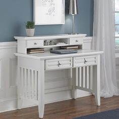 Arts and Crafts Student Desk and Hutch in White