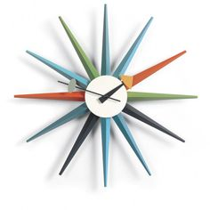 Shop the authentic George Nelson Sunburst Clock, one of more than 150 clocks designed by George Nelson Associates for the Howard Miller Clock Company from now produced by Vitra Design Museum. Shop the Nelson Starburst Clock. George Nelson, Wall Clock Accessories, Wall Clock Silent, Wall Clocks, Alarm Clocks, Traditional Clocks, Sunburst Clock, Loft Wall, Vitra Design Museum