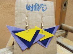Triangle Paper Earrings #Bynadia #jewels #etsy #papercraft @etsyitaliateam  http://www.etsy.com/it/shop/Bynadialab?section_id=15320199&ref=shopsection_leftnav_1