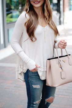 Must-Have Thermal Tee for Fall, Free People top, Thermal Tee, Fall Style, Fall Fashion, Outfit Ideas, Fall outfit inspo, Layered Necklaces, Rachel Puccetti, Between Two Coasts