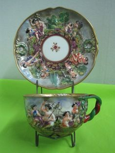 19 th century Capodimonte Napoli Porcelain Hand Painted Antique Cup and Saucer