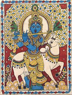Murlidhara Krishna - Folk Art Paintings (Kalamkari Paintings on Cotton - Unframed) Krishna Drawing, Krishna Painting, Krishna Art, Krishna Images, Radhe Krishna, Pichwai Paintings, Indian Art Paintings, Abstract Paintings, Abstract Oil