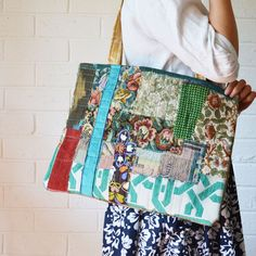 Upcycled Textile Art Large Patchwork Bag Wabi sabi patchwork Reclaimed fabric — JuanitaTortilla