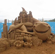 great sand sculpture....look at the face on that shark!!