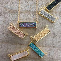 Druzy Bar Necklace Druzy Necklace Bar Necklace by julianneblumlo