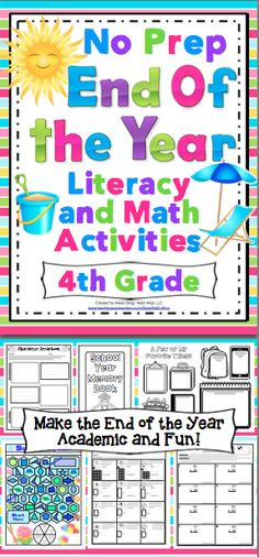 End of the Year No Prep Literacy and Math Activities: 4th Grade - Your end of the year lesson plans can be DONE! This pack is loaded with 130+ pages of no prep academic end of the year fun! $